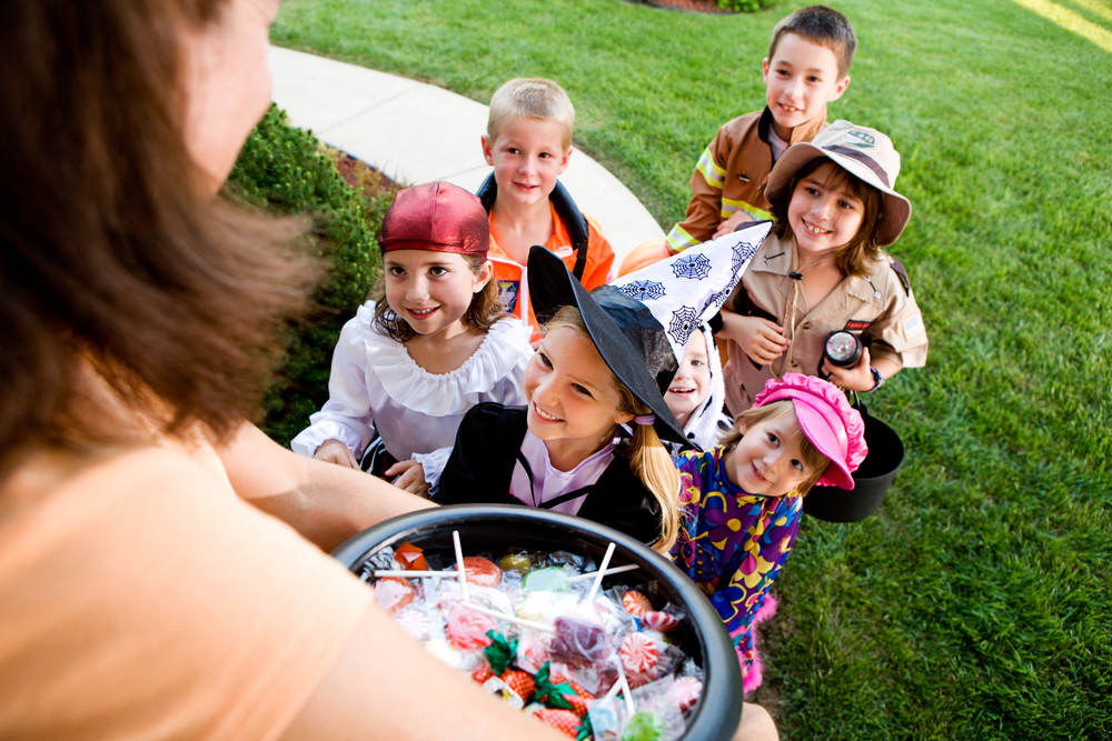 image showing group of children trick or treating