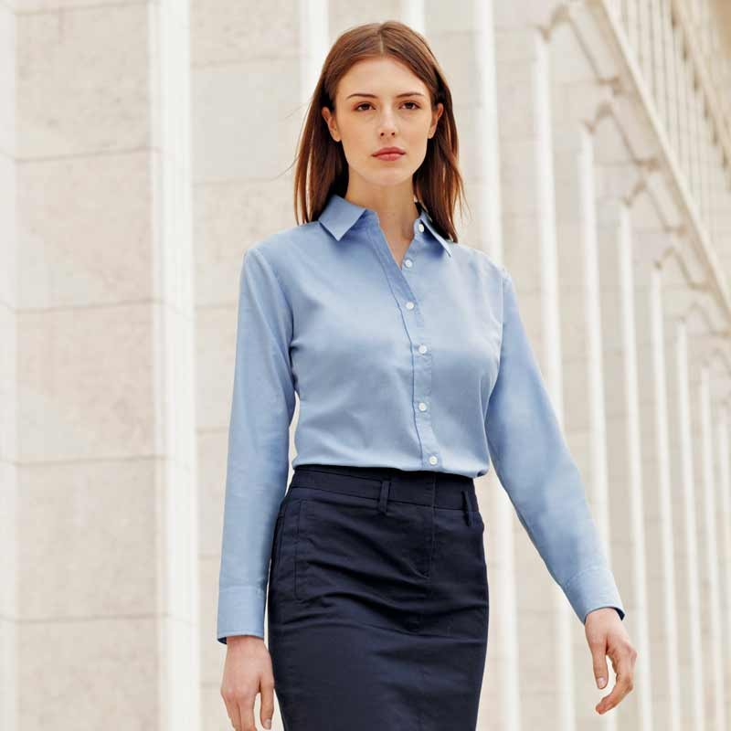 sky ladies oxford long sleeve shirt
