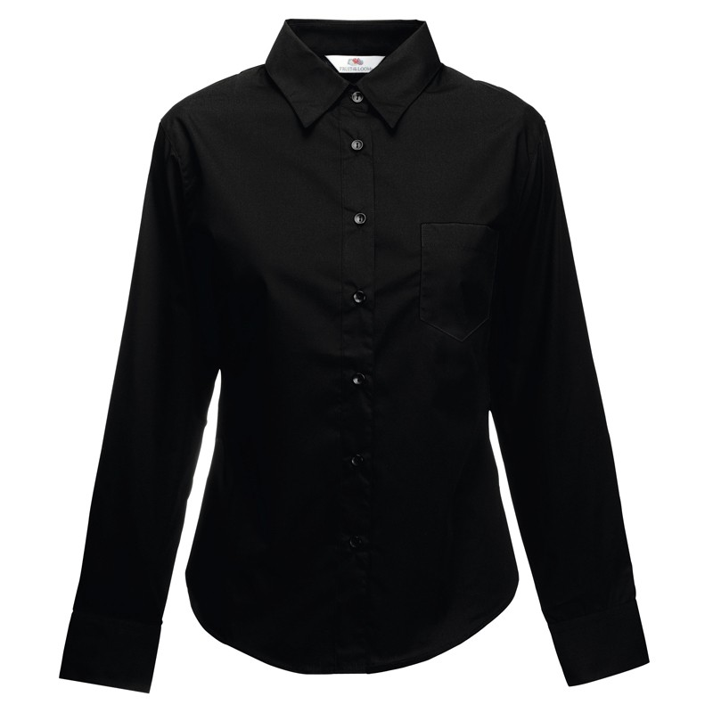 black poplin long sleeve blouse