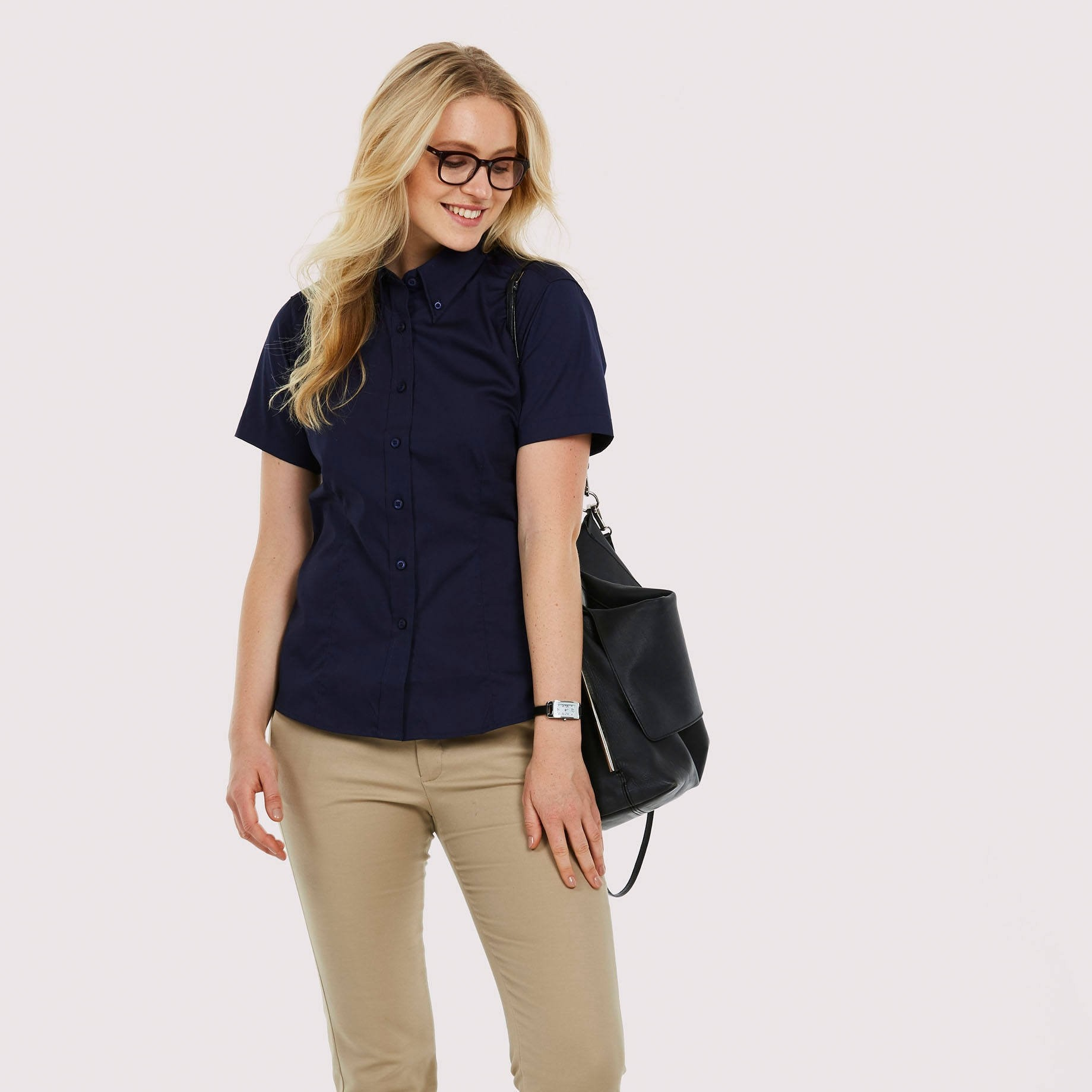 UC704 ladies pinpoint oxford short sleeved shirt