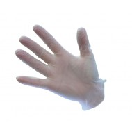 Clear powdered vinyl gloves