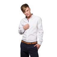 contrast button down long sleeve shirt