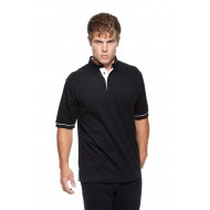 contrast polo with button down collar